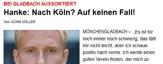EXPRESS Artikel: Hanke: Nach Köln? Auf keinen Fall!