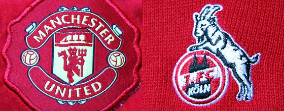 Vereinslogos: Manchester United und 1.FC Köln