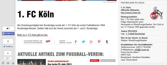Screenshot Fakten zum 1.FC Köln bei der BILD
