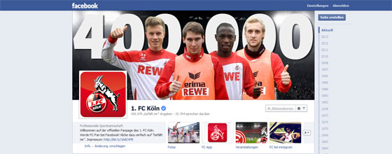 Screenshot der offiziellen Facebook-Seite des 1.FC Köln vom 2. Januar 2014