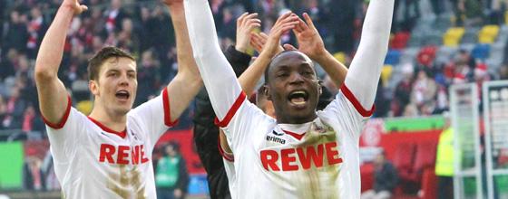 Anthony Ujah vom 1. FC Köln jubelt beim Derby gegen Fortuna Düsseldorf am 22.12.2013