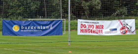 """2 Transparente (""""Burgenland, Die Sonnenseite Österreichs"""" und """"Willkommen im Burgenland, Do wo mer hingehüre"""""""
