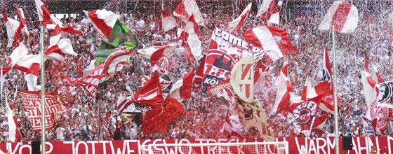 Choreografie der Südkurve des 1. FC Köln beim Heimspiel gegen den HSV in der Bundesliga 2014