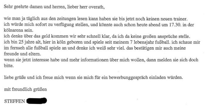 Steffens Bewerbung um Trainerposten beim 1. FC Köln