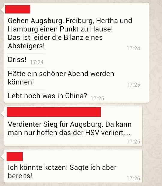 1. FC Köln gegen Augsburg via Whatsapp