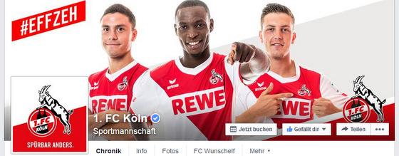 Facebookseite des 1. FC Köln