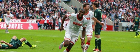 Torjubel von Anthony Modeste im Derby gegen Borussia Mönchengladbach