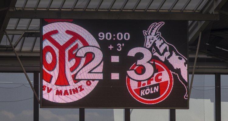 Anzeigetafel FSV Mainz 05 - 1. FC Köln 2:3 (2:0)