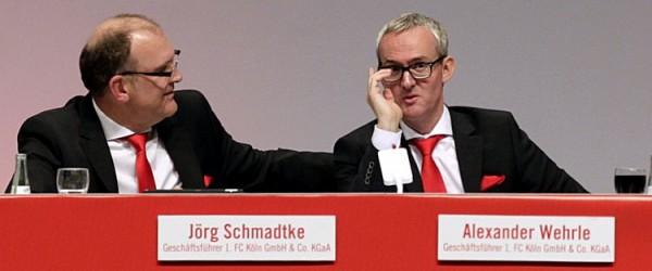 1. FC Köln MitgliederversammlungLanxess Arena Koeln DeutschlandDatum: 10.02.2015Links: Jörg Schmadtke (1. FC Köln)Rechts: Alexander Wehrle (1. FC Köln)Copyright Eduard Bopp
