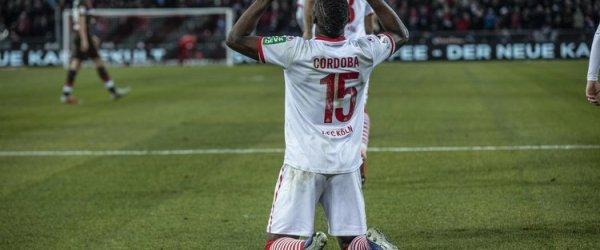 Jhon Cordoba vom 1. FC Köln beim Torjubel